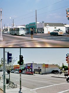 Then and now: The corner of East 1st and Hicks streets, c. 1960 and today. Tom's Burger (far left) is at 3556 East 1st Street.  The building that used to be Frank's Furniture Co. is now Chalia's Express Nutritional at 3578 E. 1st St. Bizarre Los Angeles.