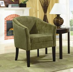 "Chair Dimension: 29""W x 26.5""D x 33.5""H Seat Depth: 20"" Finish: Pistachio Material: Microvelvet Accent Chair with Bubble Design in Pistachio Finished Microvelvet Bring any room to life with this pistachio colored embossed microvelvet accent chair with cappuccino legs. Assembly required."