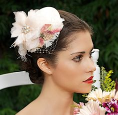 Blush Pink Wedding Hat Bridal Head Piece Cocktail Hat Fascinator Hair Flowers and French Veil 1940's - Made to Order - ALANA - ONE LEFT. $82.00, via Etsy.
