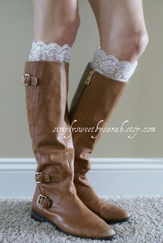 Lace Peeps Ivory lace boot cuffs with by SimplySweetbySarah Lace Boot Cuffs, Boot Toppers, Sewing Class, Best Wear, Fall Clothes, Boot Socks, Walk On, Leg Warmers, Yup