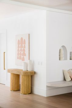 Clean lines and curved accents—House 10. By Three Birds Renovations x Sophie Bell, featuring Dulux White on White.