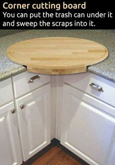 corner cutting board- you can put the trash can under it and sweep the scraps into it. corner cutting board- you can put the trash can under it and sweep…