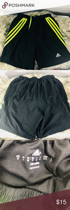 Adidas Soccer Shorts *Like New Condition  *Neon-Green 3 original strips  *Lined adidas Shorts Athletic