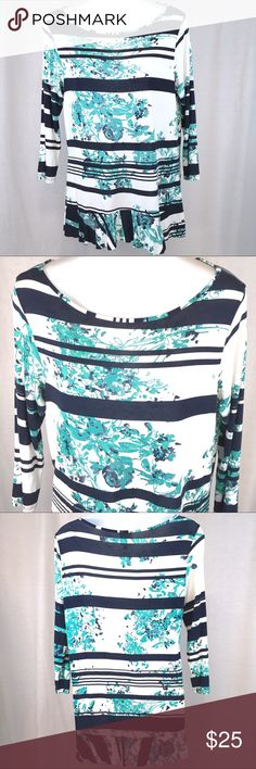 Anthropologie WESTON WEAR Stripe Floral Top MEDIUM This very soft knit top is in very good condition. It has been gently pre-loved. It's three-quarter sleeve and has a ruffled trim at the waist.  The care tag has been removed, but it is made with 95% rayon and 5% spandex. Anthropologie Tops Blouses