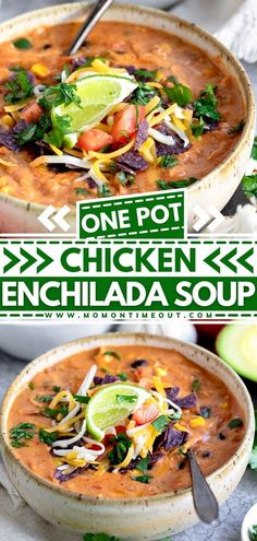 This easy Chicken Enchilada Soup is ready in under 30 minutes! This easy dinner recipe is loaded with chicken, black beans, sweet corn, and tomatoes simmered in a perfectly spiced enchilada broth! This homemade soup is sure to be a fam favorite! Pin this weeknight dinner idea!