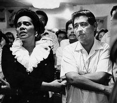Coretta Scott King prays with Cesar Chavez during his June 1972 fast at the Santa Rita Center in Phoenix.
