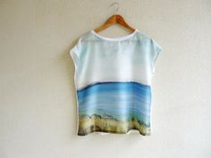 Loose fit top,silk top,hand made clothing,wearable art,seascape,hand painted blouse,tunic silk,loose top,womens tops,blue white blouse