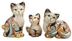 De Rosa/Rinconada hand-crafted ceramic figurines - Calico cats