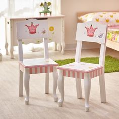Fairy tales become a reality with Fantasy Fields' beautifully constructed Princess and Frog Chair Set. Chair Set features two hand painted, hand carved chairs w Kid Table, Table And Chair Sets, Toddler Table, Princess Chair, Princess Party, Disney Princess, Childrens Desk, Kids Stool, Office Chair Without Wheels