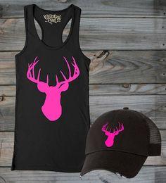 Women's Country Girl ® Pink Deer Head Fitted Racerback Tank & Hat Package