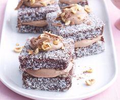 Hazelnut cream lamingtons recipe - By recipes+ Apple Recipes, Sweet Recipes, Baking Recipes, Cake Recipes, Dessert Recipes, Pudding Desserts, Sandwich Recipes, Easter Recipes, Chocolate Coconut Slice
