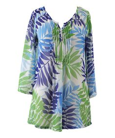 Look what I found on #zulily! Blue & Green Tropic Palms Pleated Button-Up Tunic - Women #zulilyfinds
