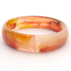 1 Vintage Acrylic Bangle Bracelet Amber Rust Marble by GalleriaLindaLoft, $7.99 USD