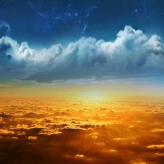 Golden Sunrise Over Clouds HD Desktop Wallpaper