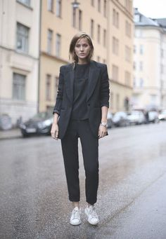 Black Suit and Stan Smith Sneakers
