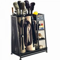 for the golf dad Sport Rack, Ball Storage, Storage Racks, Garage Storage, Storage Ideas, Club Shoes, New Golf, Golf Tips For Beginners, Kitchen Fixtures