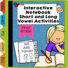 This interactive notebook covers phonics dealing with: Short Vowels - has a word family booklet to complete (tab book) *sort the words and put them into the correct envelope *write the consonants to make words *say the short a word then add a bossy e to change the word  Long Vowels - students will: *sort the long vowels into the correct envelope *complete word family houses *change the word from a short vowel sounding word, to a long vowel by adding the bossy e