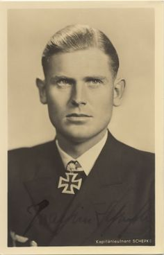 "Joachim Schepke, captain of U-100. Sunk 37 ships totalling 155,882 tons. Went down with U-100 when depth charged by HMS Walker and Vanoc during a convoy attack in March 1941. That same month, Günther Prien was sunk and ""Silent"" Otto Kretschmer lost his boat and was captured. These U-boat aces went from being heroes to martyrs in Germany, but it was clear the Allies had adapted and were putting up a strong resistance. Morale sunk. The U-boaters' ""happy time"" was over."