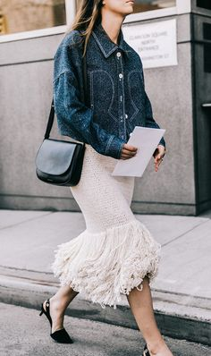 Denim jacket + frilled skirt