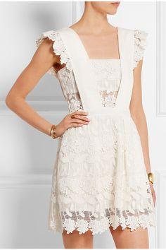 Self-Portrait|Ruffled guipure lace mini dress|NET-A-PORTER.COM