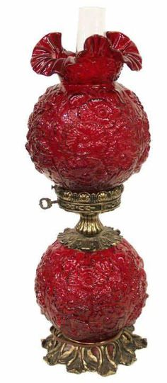 Fenton Gone with the Wind Style Ruby Red Lamp. Fenton Lamps, Fenton Glassware, Vintage Glassware, Antique Oil Lamps, Vintage Lamps, Chandelier Lamp, Chandeliers, Ceiling Lamps, Pendant Lamps