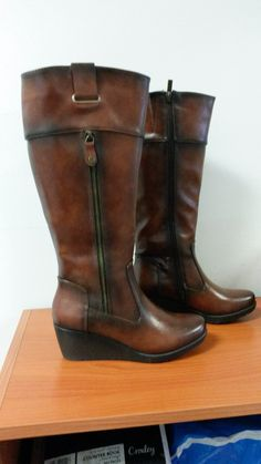 Brown Wedge Knee High Boot by Pierre Cardin