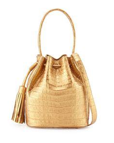 Small Crocodile Drawstring Bucket Bag by Nancy Gonzalez at Neiman Marcus.