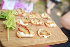 A tasty summer-time treat... ripe nectarine & goat cheese crostinis. Ravishing Radish Catering | Amanda Lloyd Photography