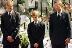 Prince Charles, Prince Harry and Prince William look at the coffin of Diana, Princess of Wales, after it was placed into a hearse at her funeral on 6 September 1997.