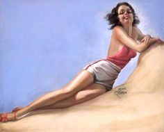 "Irene Patten ""Brunette Lounging on Beach"" York Art Gallery, Pin Up Photography, New York Art, Pin Up Art, Girl Next Door, Pin Up Girls, Irene, Illustration, American"