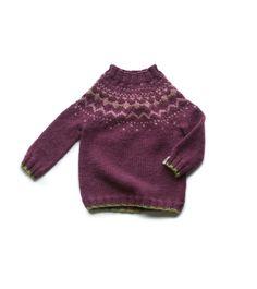 Childs Hand Knitted Plum Fair Isle Jumper