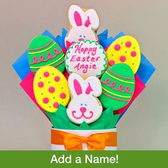 We've hand-decorated our extra large and colorful Easter egg cookies this year especially beautiful to make a deliciously unique Easter gift for your friends or family members to enjoy. Center Cookie personalized For Free Please add name in the comment field at check out! Please let me know if you have any questions. Shop Online > Holidays and Occasions > Easter, 4/20 ~ All Orders must be in by 4/11 for on time delivery http://forever.labellabaskets.com/  #giftbaskets #gifts #Easter  #cookies