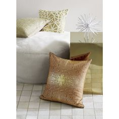 """Shop soiree natural 16"""" pillow.   Shiny triangles pop metallic in spontaneous pattern against natural cotton.  Front flips to solid neutral cotton back."""