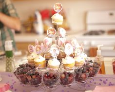 Sofia the First, cupcake tower and yummy fruit.  Courtesy of @Cody Barnes.