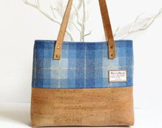 Eco Friendly Cork Bag - Harris Tweed Bag - Scottish Blue Tartan Bag - Vegan Gift