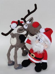 Crochet Amigurumi, Amigurumi Patterns, Crochet Dolls, Crochet Patterns, Crochet Christmas Ornaments, Handmade Christmas Decorations, Christmas Crafts, Felt Animals, Crochet Animals