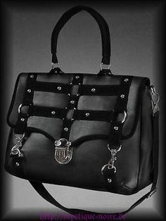 Steampunk Military Tasche Satchel Bag schwarz Gothic Viktorianisch Veggie-Leder