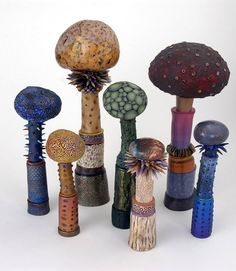Polymer clay mushrooms by Rachel Gourley.  Beautiful and intriguing!