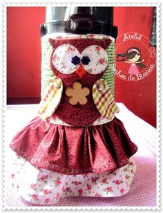 Capa para garrafa Térmica Coruja Flamingo, Patches, Kit, Sewing, Children, Cape Clothing, Vacuum Flask, Fabric Rug, Applique Quilts