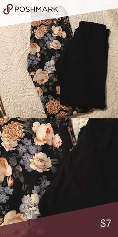 Forever 21 and American eagle leggings Forever 21 floral legging (BNWT) and American Eagle crop leggings worn once. Great deal!! American Eagle Outfitters Pants Leggings