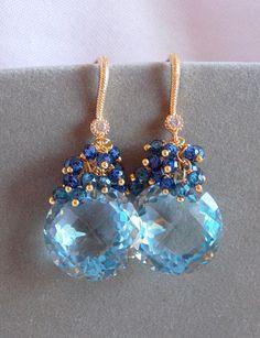 Swiss Blue Topaz Dangle Earrings Luxe Sapphire Blue Zircon Cluster Earrings Bridal Gold Vermeil