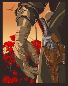 Fans of Stephen King's Dark Tower books will want to check out this cool art print by The Dark Inker, which pays tribute to gunslinger Roland Deschain. Dark Tower Art, The Dark Tower Series, Dark Tower Tattoo, La Tour Sombre, Westerns, Red Dead Redemption Ii, Le Far West, Fantasy, Western Art