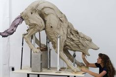 """Beth is quite the gutsy clay sculpturer, as you can see! Beth Cavener Stichter  """"In Bocca al Lupo""""  Stoneware"""