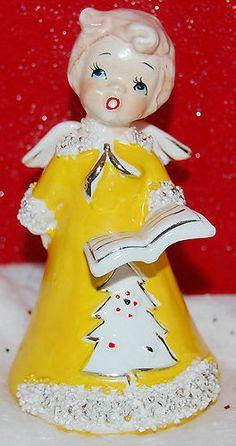 VINTAGE CHOIR GIRL ANGEL BELL, SINGING CHRISTMAS CAROL'S, PRETTY IN YELLOW   eBay