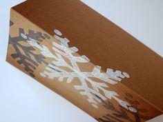 Winter Snowflake Linocut Block Print - Silver & White Christmas Cards (Set of 4). via Etsy.