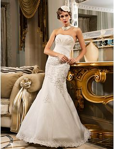 Trumpet/Mermaid Strapless Floor-length Satin Wedding Dress (466955) – USD $ 179.99