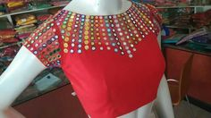 Top Beautiful Mirror work Blouse Designs Latest designs :- Mirror work blouse designs have become fashion now. When a mirror work blouse is combined with a plain saree it will give stunning a… Mirror Work Saree Blouse, Mirror Work Dress, Mirror Work Blouse Design, Blouse Designs Silk, Bridal Blouse Designs, Blouse Models, Boat Neck, Blouses, Saris