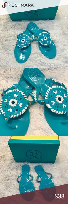 Jack Rogers Georgica Jelly in Turquoise Jack Rogers Georgica Jelly in Turquoise!! Basically brand new! I've only worn once or twice and there are no signs of wear! The Georgica Jelly is the perfect version of the everyday sandal that you can wear without worry to the pool or beach thanks to its water-friendly construction. Color: Turquoise / White Jack Rogers Shoes Sandals