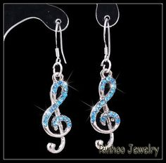 Blue Crystal Treble Cleft Earring