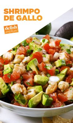 Once you put shrimp in pico de gallo, you'll never go back to the plain stuff. Get the recipe at Delish.com. #recipe #easy #easyrecipe #shrimp #salad #avocado #mexican #mexicanfood